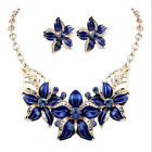Charming Women Gold Plated Jewelry Set Crystal Flower Statement Necklace Earring