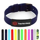 IDtagged Silicone Medical Alert Tree Nut Allergy Matte Black Tag ID Bracelet
