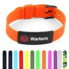 IDtagged Silicone Medical Alert Warfarin Matte Black Tag ID Bracelet