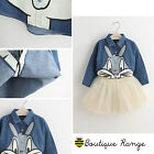 Girls Beautiful Bunny long sleeve denim smart casual print 2-7 Years
