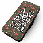 I Beat Anorexia - Faux Leather Flip Phone Cover Case Diet Overweight XL Carbs