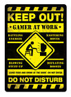 Gamer At Work YELLOW Metal Wall Sign Plaque Art Inspirational Gaming Geek Nerd