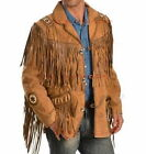 QMUK Men's Brown Traditional Western Leather Jacket coat Fringe Bone and Beads