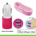 Apple iPhone 7/6s/6/5s In Car SUPER FAST Dual Charger + Lighting Charging Cables