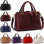 Women Patent Faux Leather Ladies Shoulder Bag Cross Body Grab Handbag Tote New