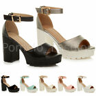 WOMENS LADIES CHUNKY HIGH HEEL PLATFORM ANKLE STRAP SUMMER EVENING SANDALS SIZE