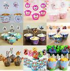 PACK OF 12 CUPCAKE LINERS WRAPPERS & CAKE TOPPERS BIRTHDAY WEDDING PARTY SUPPIES