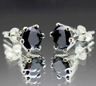 1.76tcw Natural Black Diamond Stud Earrings, Certified AAA Grade & $1025 Retail