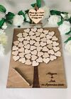 Personalised Wooden Guestbook Tree Board 50-80 Hearts Party Wedding Christening