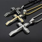 """24"""" Men's Silver Gold Black Stainless Steel Jesus Cross Pendant Necklace Chain"""