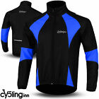 Winter Men Cycling Jacket Thermal Fleece Windproof Windstoper Long Sleeve Blue