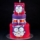 Unusual BRIGHT Baby OWL Shower Gift Nappy Diaper Cake for Boys or Girls