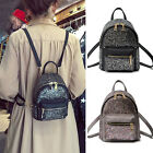 Faux Leather Convertible Small Mini Backpack Rucksack Shoulder bag Purse Sequin