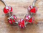 Wholesale European Style Charms RED Pink Murano Glass Beads 5 10 20 for Bracelet