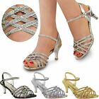 Ladies Womens Diamante Wedding Low Kitten Heel Bridal Shoes Strappy Sandals Size