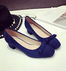 Women's Fashion Suede Bowknot Thick Block Med Heel Formal Work Court Shoes 4-9