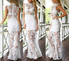 Womens Lace Dress Slim Clubbing Party Dress Perspective Hollow Out Long Dresses