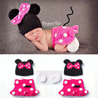 Newborn Baby Girls Crochet Knit Costume Photo Photography Prop Outfits Minnie &2