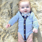 Newborn Baby Boy Gentleman Cotton Jumpsuit Romper Bodysuit Outfits Clothes Suit