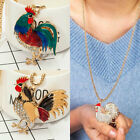New Women's Girl Big Cock Zodiac Chicken Gold Plated Rhinestone Party Necklace