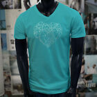 CRYSTAL SHAPED HEART GEMS RARE MINERALS STONES Mens Turquoise V-Neck T-Shirt image