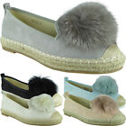 Womens Flat Platform Ladies Suede Pom Pom Slip On Espadrilles Pumps Shoes Size
