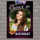 Personalised Disco Bokeh Happy Birthday PHOTO Poster Banner N131 ANY AGE