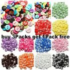 200Pcs 15mm RESIN BUTTONS MIXED COLOURS CRAFT SCRAPBOOK SEWING CARDMAKING