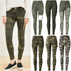 UK Womens Vintage Stretch Ripped Skinny Ladies Denim Pants Trousers Jeans 6-16