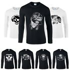 Sports Skull Printed Black Men Tee Cotton T-shirt Top Long Sleeve Crew Neck New