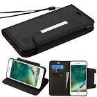 Black Strap Leather Flip Wallet Protective Case Cover For Apple iPhone 7