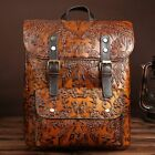 New Women Handmade Genuine Leather Backpack Travel Bag Embossed cow leather M