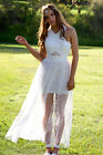 NEW White Lace Formal Dress Low Back Sheer Bohemian Beach Wedding Lace Gown