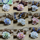 Precious Chinese Handmade Ceramic Flower Peony Lotus Jewelry Pendant Necklace image