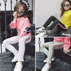 Spring Autumn Child Kids Baby Girl Red+Black Side Sports Leggings Trousers 2-7Y