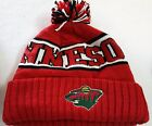 MINNESOTA WILD NHL WORDMARK Cuffed Knit Beanie Hat Ski Cap W/Pom Your Choose