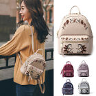 Convertible Small Mini Floral Embroidery Genuine Leather Backpack Shoulder Bag