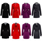 Stylish Pure Color Spring Autumn Hooded Cotton Coat Women Overcoat Lady Outwear