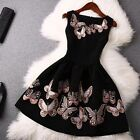 Womens Casual Sleeveless butterfly Evening Party Cocktail Sexy black Mini Dress