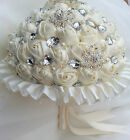 Satin Rose & Brooch Rhinestone  Bridal Bouquet Ivory FREE GROOM BUTTONHOLE