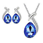 Women Girl Chic Crystal Pendant Silver Plated Chain Necklace Earring Jewelry Set