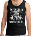 Men's Psychobilly Bar T-Shirt Sleeveless Distressed Look Punk Rockabilly Rocker
