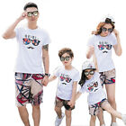 New Holiday Summer Family sets Outfits cotton white T shirt shorts Pants cartoon