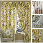 SIENNA Floral Pencil Pleat LINED Curtains NEW LEMON, Natural, Pink Duck Egg.