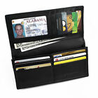 FancyStyle Mens RFID Blocking Long Wallet Safe Slim Bifold Genuine Leather Black