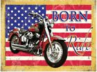 BORN TO RIDE AMERICAN ROUTE 66 MOTORCYCLE BSA NORTON METAL PLAQUE TIN SIGN 224