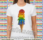 RAINBOW ICE CREAM CONE unisex Gay Lesbian Pride Tee shirt LGBT queer