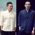 Men Linen Navy White Kimono Style Neckline Ethnic Mandarin 3/4 Sleeves T-Shirt