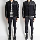 Men Male Black Leather Coat Two-Tone Outerwear Baseball Bomber Harrington Jacket