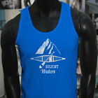 SILENT WATERS KAYAK OCEAN BEACH SEA MOUNTAINS Mens Blue Tank Top